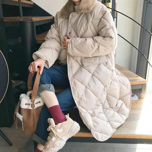 3色 casual ファー付き中綿ロングコート c2081