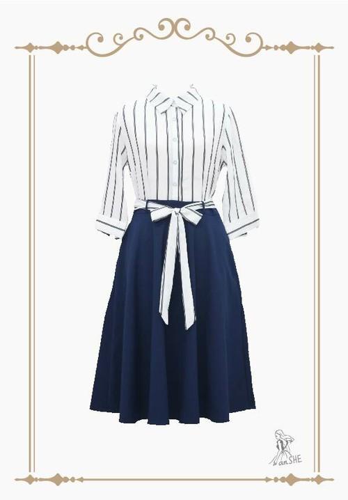 【完売御礼】Black Stripes Shirt dress / ストライプ柄シャツドレス