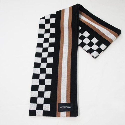 CHECKER&STRIPE MUFFLER / BLACK