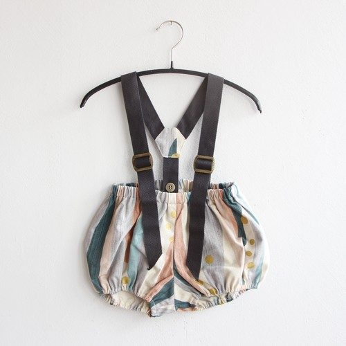 《eLfinFolk 2021AW》Crambon stripe suspenders bloomers / pale pink / 80-90cm