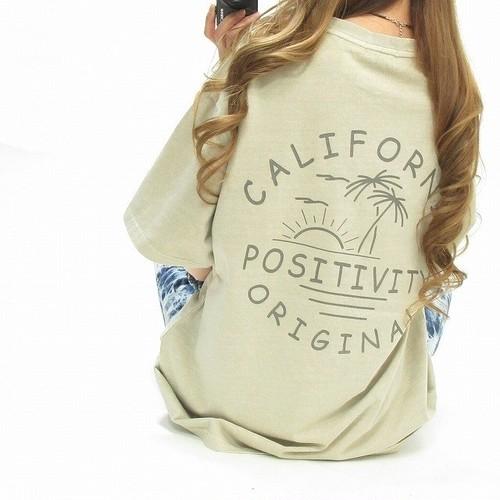 California カリフォルニア バックロゴ ビンテージ Tシャツ ユニセックス ベージュ