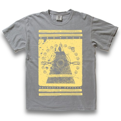 """WAVE"" GRAY/EGG YELLOW [WASHED S/S T-SHIRT]"