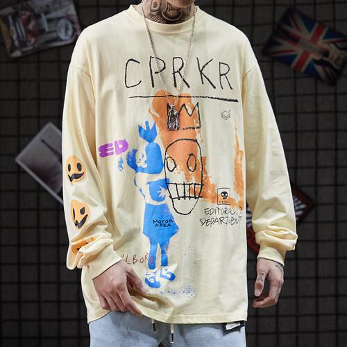 メンズ長袖Tシャツ。落書き風個性的プリントイエローカラー