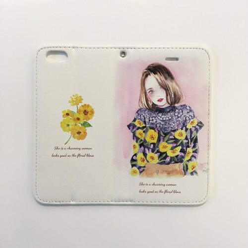 miya(ミヤマアユミ)「floral blous」iPhone6/6S/7用ケース ブックタイプ