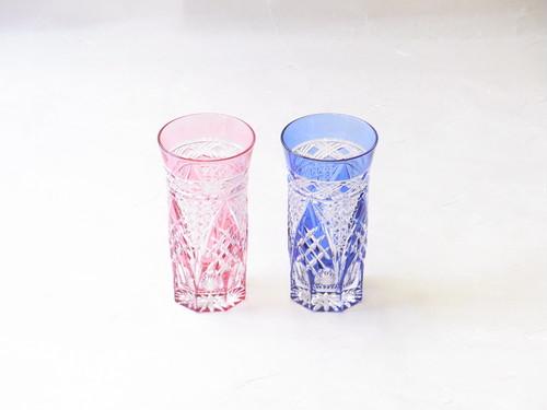 伝統工芸 江戸切子 一口ビール・冷茶グラス 赤青ペア