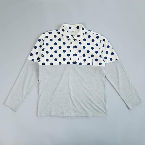 WFH Jammies White Dot Shirt x Gray Long T-shirt (Top Only)