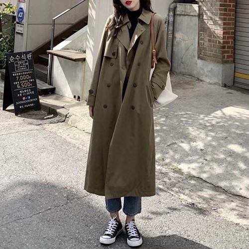 【アウター】新作韓国風ファッションレトロゆったり折り襟ロングコート