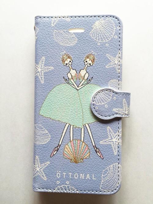 (iPhone) 海と真珠 手帳型スマホケース