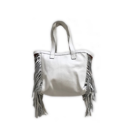 SALE! Mexican rug × fringe tote bag (white)
