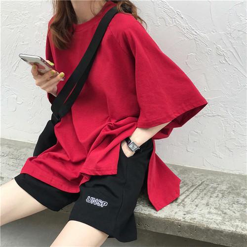 【送料無料】 ルーズシルエットが今っぽ♡ 無地 シンプル オーバーサイズ Tシャツ メンズライク サイドスリット