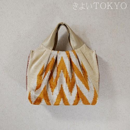 ウズベキスタンの香り!マリーゴールドカラーのシルクベルベットバッグ/着物に合うバッグ(送料無料)