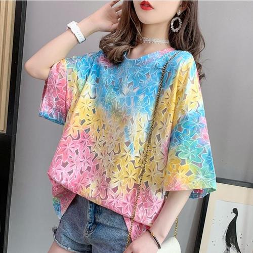 【tops】絶対流行ラウンドネック透かし彫り2色プリントTシャツ着心地良い