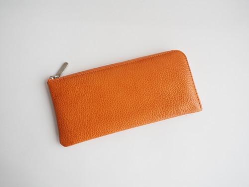 薄くて軽いL字長財布 24枚カードポケット イタリア牛革艶シュリンク オレンジ【Squeeze スクイーズ】
