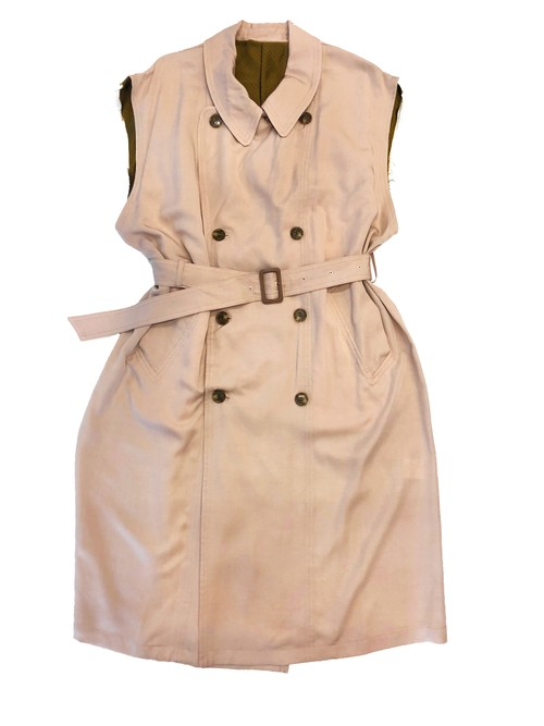 circa make scarf neck band wide n/s trench coat / dusty pink (ladies)