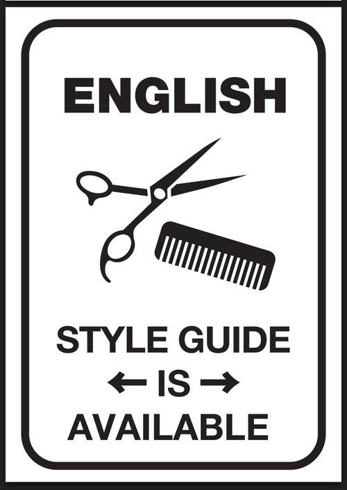 英語版 バーバースタイル オーダーブック 「英語メニューあります」ポスター付