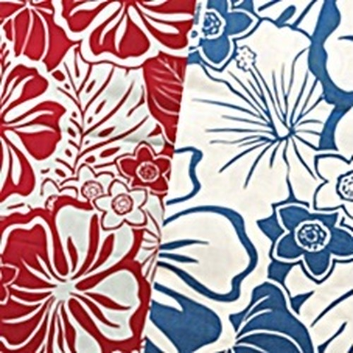 USA Cotton Hawaiian Fabric     ハイビスカス Red/Blue