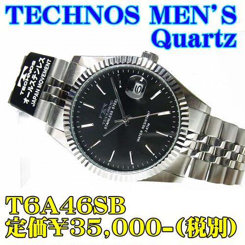 テクノス 紳士 クォーツ T6A46SB 定価¥35,000-(税別)新品です。