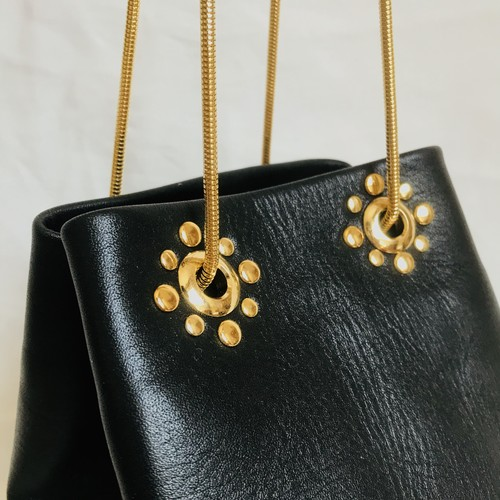 Studs Chain Bag《black×gold》