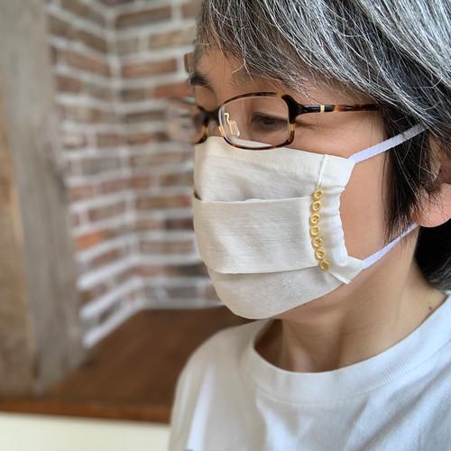 お出かけマスク、ワンタックプリーツマスク「金箔レースまるまるG」医化学的繊維と銀の糸を使った抗菌防臭
