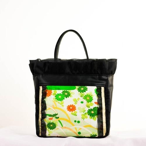 緑・橙色に金彩 古典花模様 正絹 丹後ちりめんをモチーフにしたフリルバッグ 四角形 Mサイズ