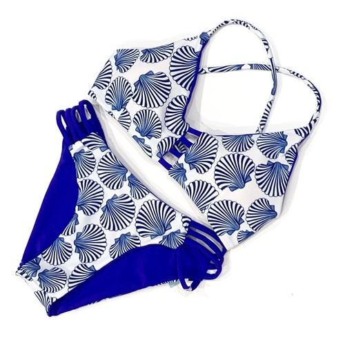 *aqua blanca*Reversible Triangle Bikini BLU941