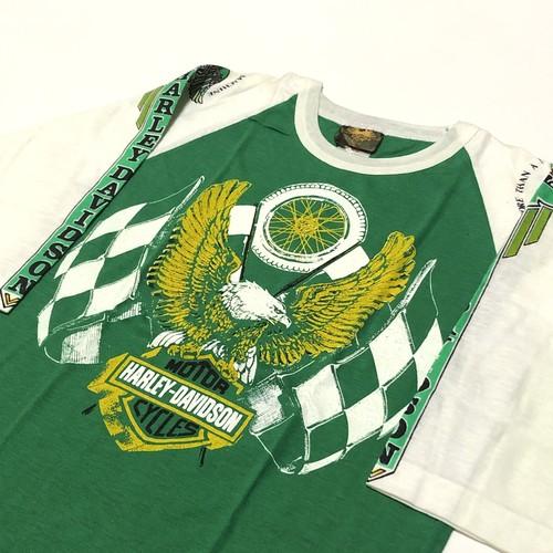 70's ヴィンテージ ハーレーダビッドソン Tシャツ Bernie May× HARLEY-DAVIDSON イーグル×ホイール×チェッカーフラッグ 緑×白 ツートン カナダ製 七部袖 DEAD STOCK(M)