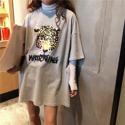 【トップス】カートゥーンラウンドネック半袖ゆるいカジュアルTシャツ