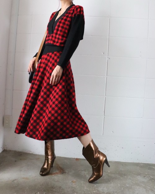 80's buffalo check dolman sleeve dress