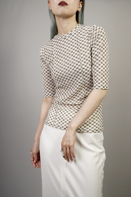 CHECKERED TOPS   (CHARCOAL) 2105-01-84