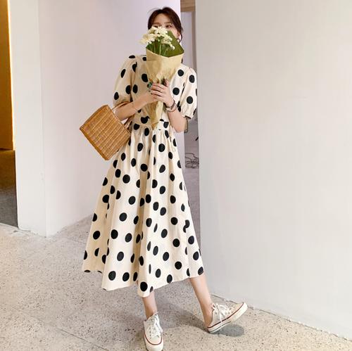 【dress】ファッションand清新!ドット柄チュニック2色デートワンピース M-0350