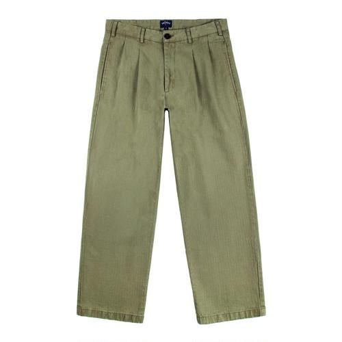 Double Pleat Herringbone Trouser(Army Green)