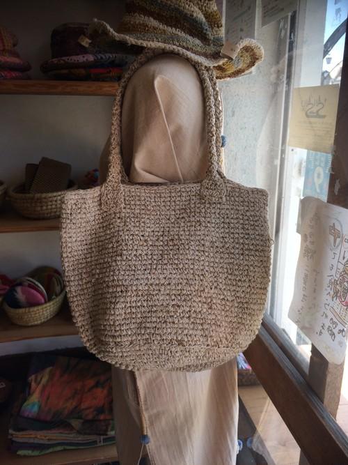 ヘンプコットン、手編みの夏用バッグ