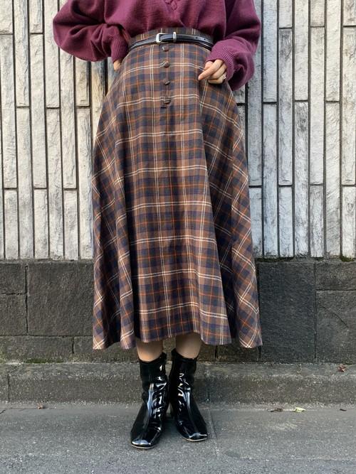 (TOYO) check pattern long flare skirt