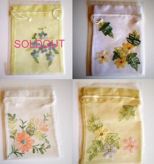 ベトナム刺繍巾着袋 シフォン アジアン雑貨 small
