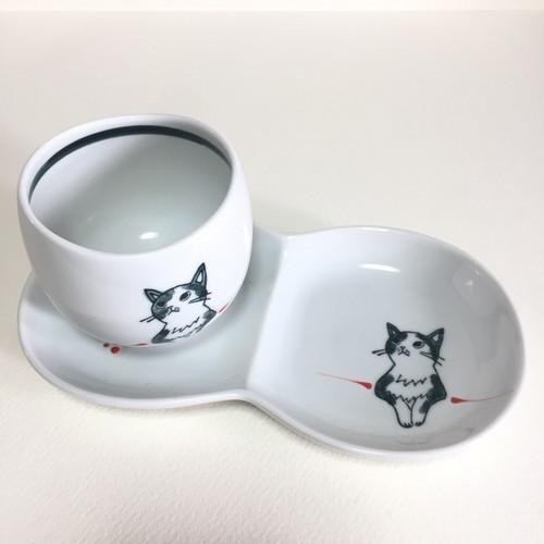 【508034A177】波佐見焼 想い猫 ティータイムセット