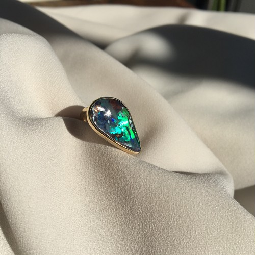 Boulder Opal Mix Color Ring