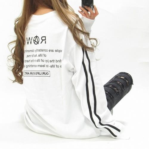 バックロゴ 袖ライン Frontロゴ刺繍 ロング丈 BIGロンT オーバサイズ ホワイト