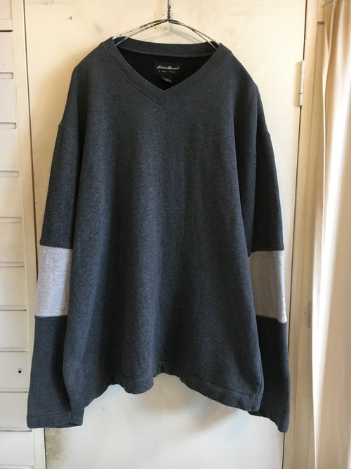 oversized 2tone sleeves sweat cut-sew