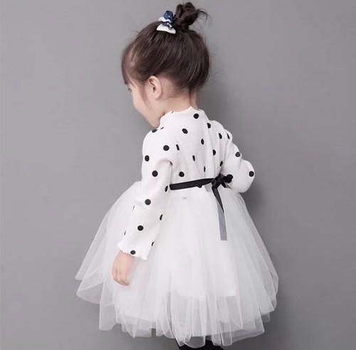 【即納/送料無料】ホワイト✴︎ドット柄 長袖ワンピース 可愛いベビードレス ホワイト