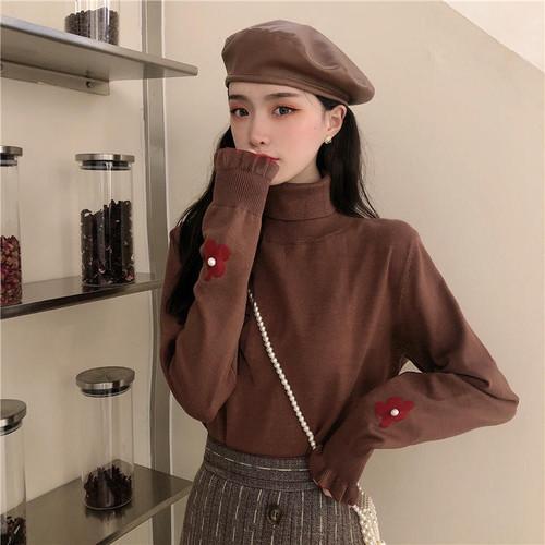 【送料無料】 袖デザインがかわいい♡ ガーリー フラワー タートルネック ニット カットソー キャンディスリーブ