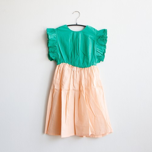 《frankygrow 2020SS》BACK SHAN FRILL DRESS DYED / green × pink / LL