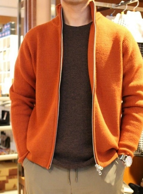 Harriss Stand Collar Zip Cardigan