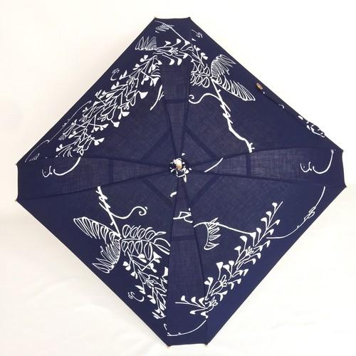 着物地の日傘 四角 紺浴衣