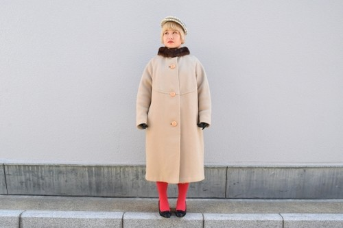 VINTAGE Beige x Brown fur collar coat