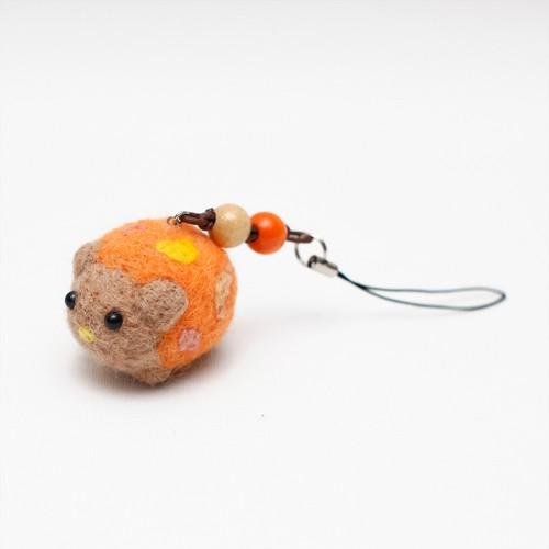 ねずみストラップ(オレンジ)