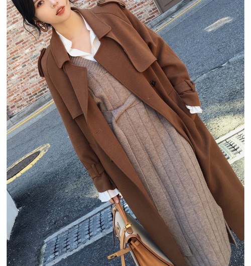 trench design overcoat (brown) (o_2)