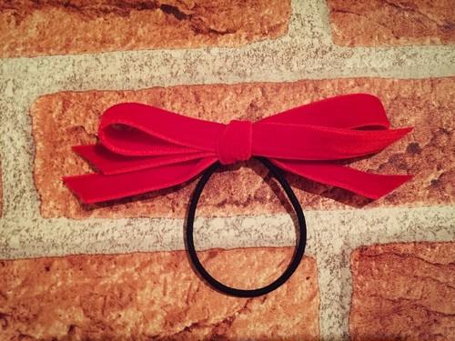 ベルベットリボンゴムmini red