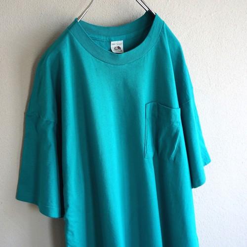 1980's USA製 [FRUIT OF THE LOOM] 100%コットン 無地 ポケットTシャツ エメラルド 表記(XXXL)