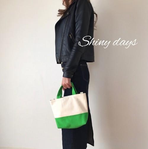 ショルダー付き♡帆布のトートバッグ 生成り×緑 グリーン