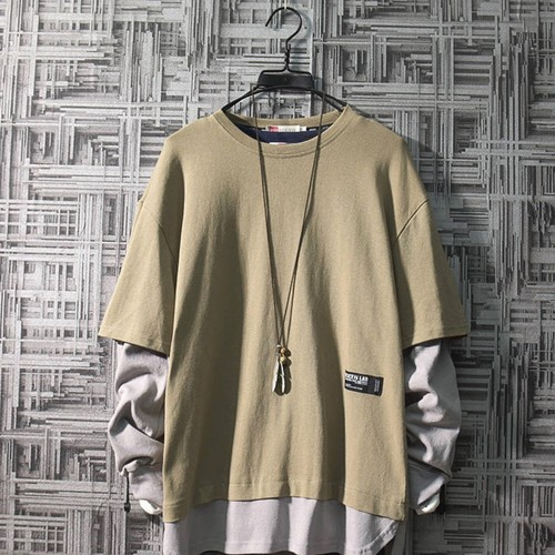 フェイクレイヤード 重ね着風カジュアルシャツ 秋服 韓国風